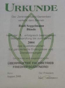 phoca thumb l Urkunde 2004 JPG 222x300 Auszeichnungen